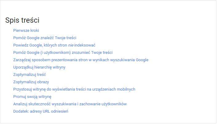 Nowy podręcznik SEO od Google - spis treści