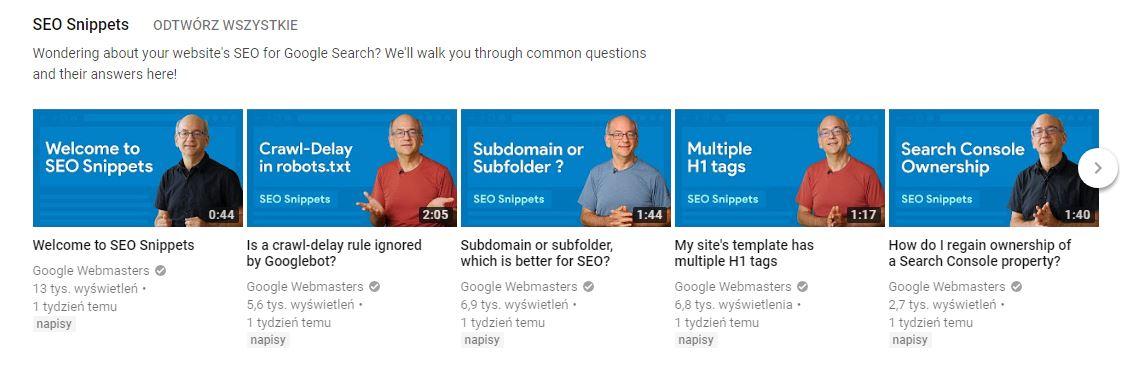Materiały na YouTube udostępnione przez Google